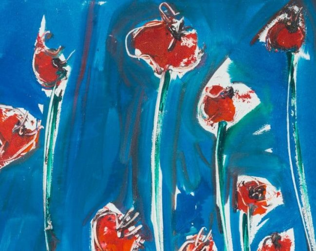 Poppies in blue 2