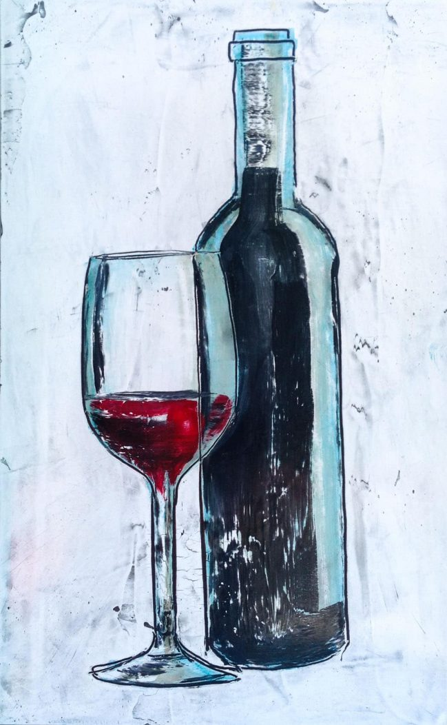 Bottle and red wine glass 1