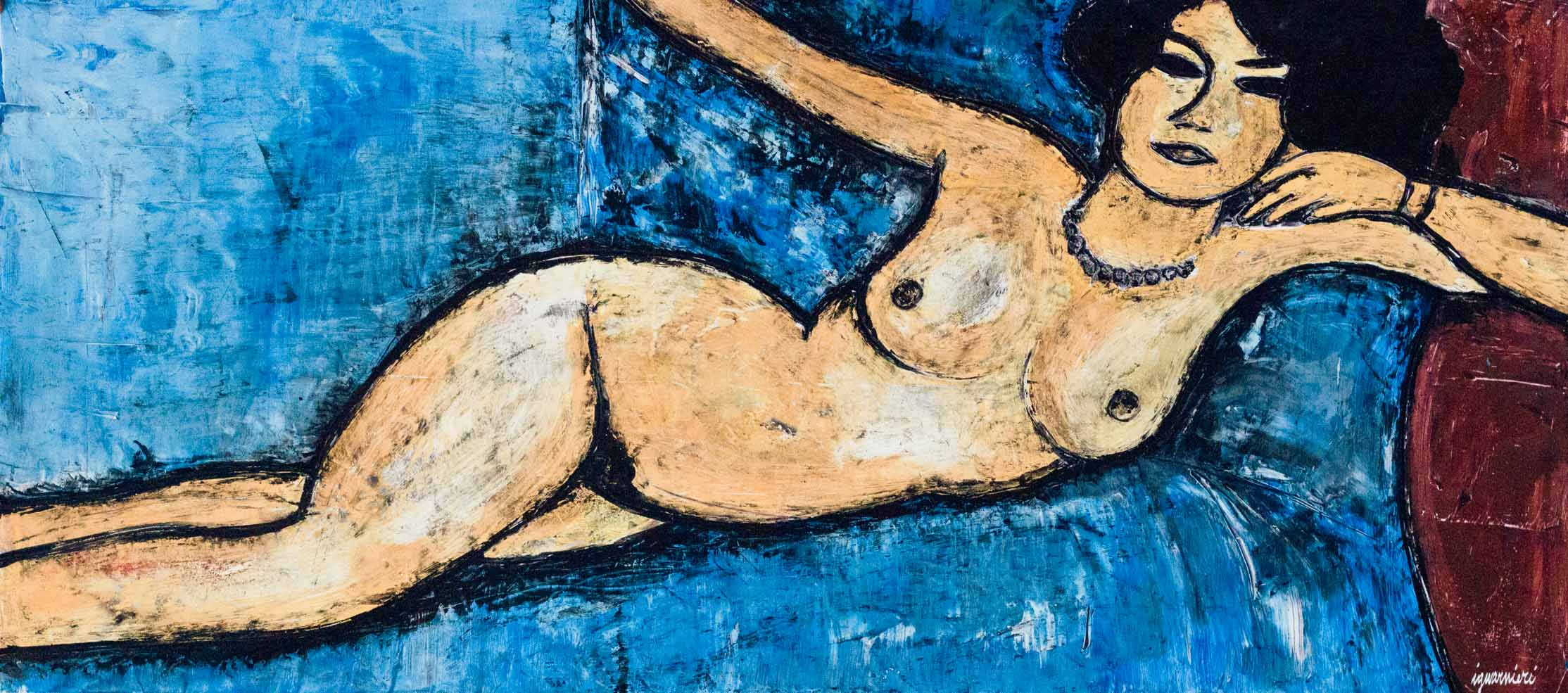 Nude on a blue bed 1
