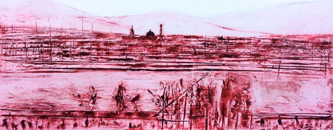 Florence landscape in red wax 1
