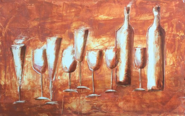 Bottles and chalices in brown 1