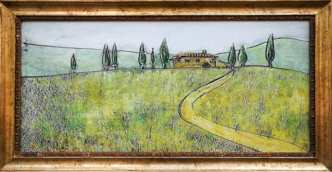 Countryside, house and cypresses 2