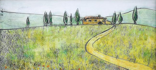 Countryside, house and cypresses 1