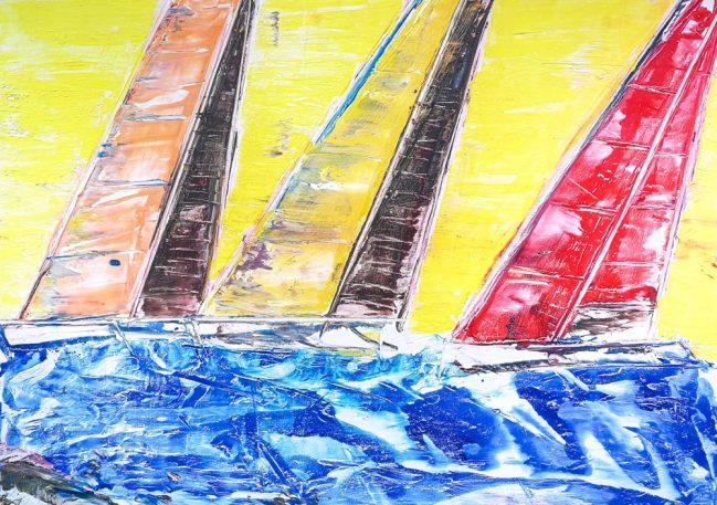 Sail boats in Yellow 1