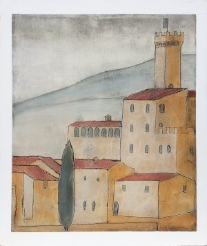 Castello Banfi 89 x 106. Fresco painting on wood surface. Iguarnieri. Florentine artist.