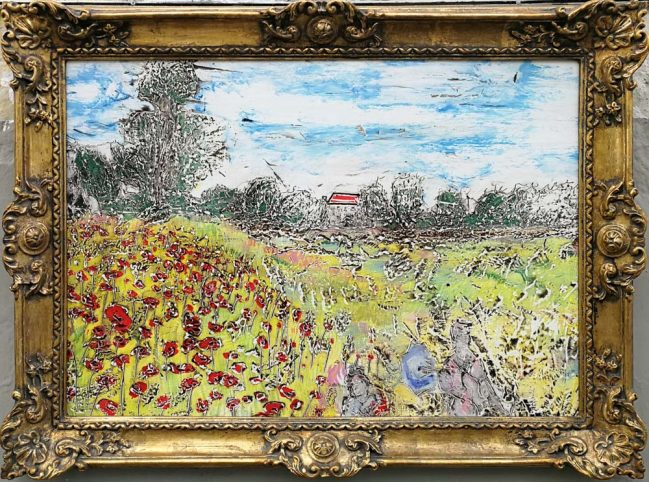 monet, countryside painting in fresco technique