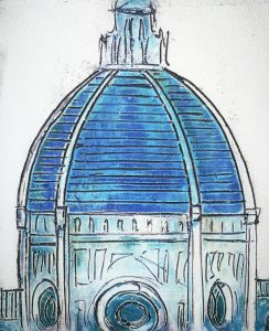 Firenze Dome in Blue, detail, contemporary quality art in Florence