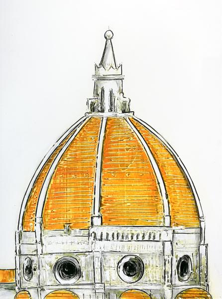 Florence Dome Orange and carved antique frame 1