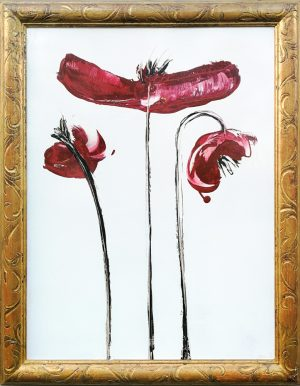 velvet red poppies, art gallery studio florence, local artist