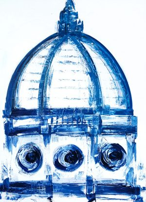 canvas duomo painting blue