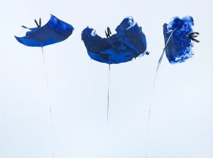 blue poppies painting