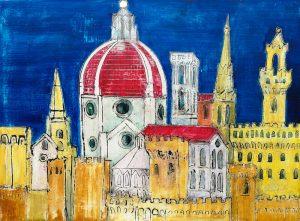 fiorenza, painting, firenze antica, blu