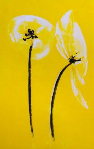 white poppies yellow contemporary artwork