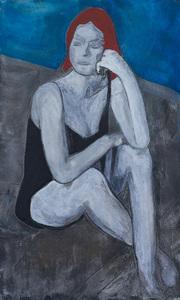 woman thinking artwork