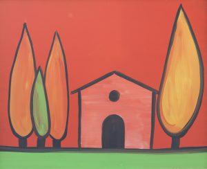 Cipressi e casetta in rosso 3