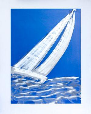 silver sail boat