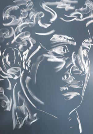 davide michelangelo graffito su metallo
