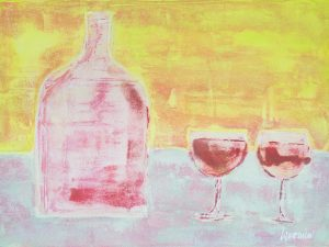 bottle and wine glasses