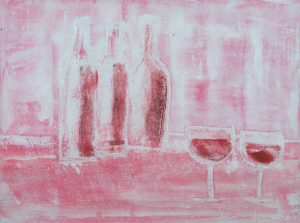 bottles and wine glasses in pink