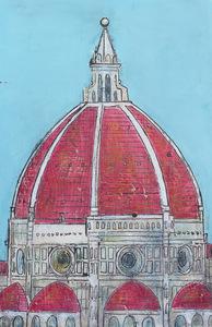duomo rosso cielo celeste big 80 x 123