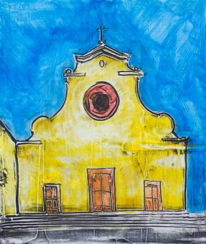 Santo spirito yellow and blue 51 x 60