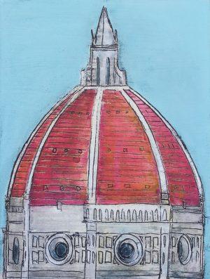 Duomo rosso cielo celeste 60 x 80