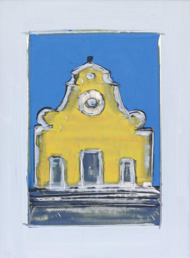 santo spirito blu e giallo graffito 60 x 80