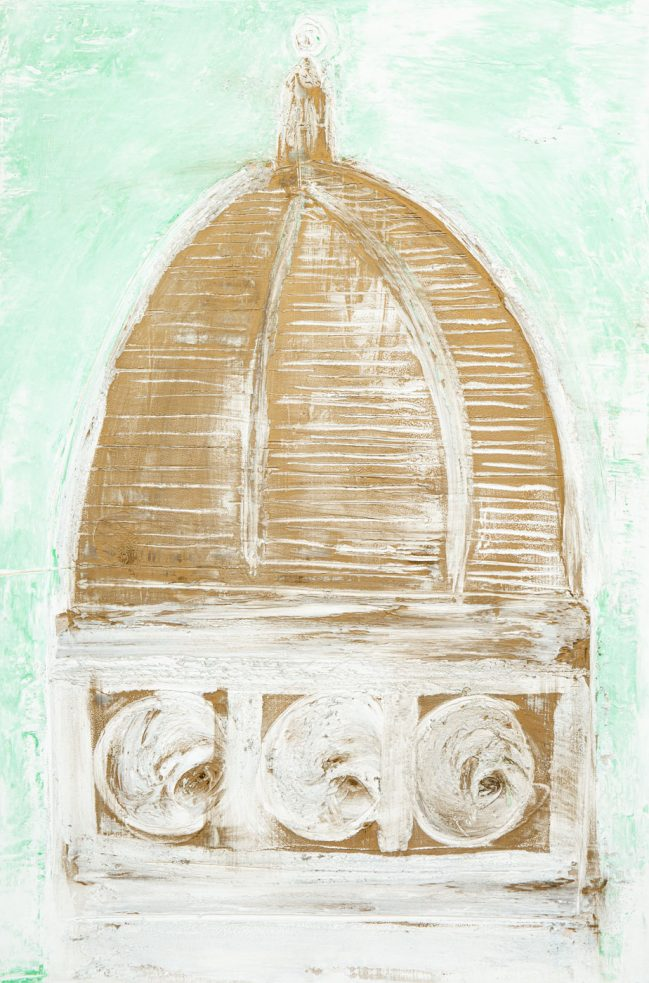 Title of the painting: Florence Dome green essence Fresco painting on wood with finishing touches Dimension: 80 x 123 cm. | 31,5 x 48,4 inch.