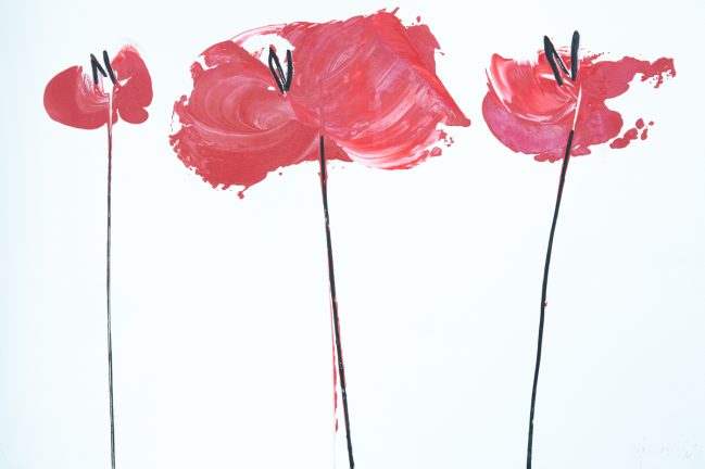 poppies red medium art for sale