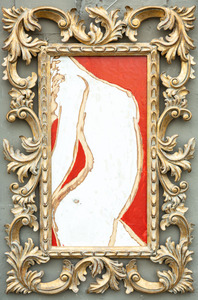 Title of the painting: Donna in rosso Incision and painting on wood surface. Dimensions: 42 x 82 cm | 16,5 x 32,2 inch. Please note that the frame in the picture is not included on the measures and it might vary or change, this particular one is the artist suggestion for the artwork.