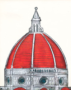 brunelleschi dome in red