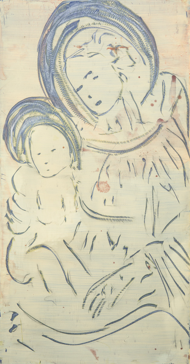 Title of the painting: Madonna col Bambino Incision and painting on aluminum plate surface. Dimensions: 50 x 85 cm | 19 x 33,4 inch.