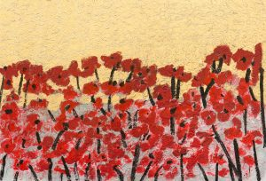gold sky red poppies 125 x 185