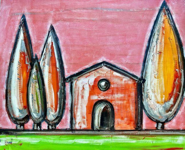 Tuscany landscape pink graffito 1