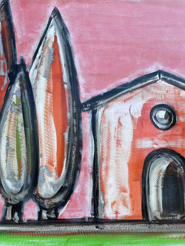 Tuscany landscape pink graffito 2